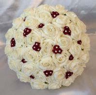 WEDDING FLOWERS ARTIFICIAL WINE RED/IVORY FOAM ROSE WEDDING BRIDES BOUQUET *NEW*